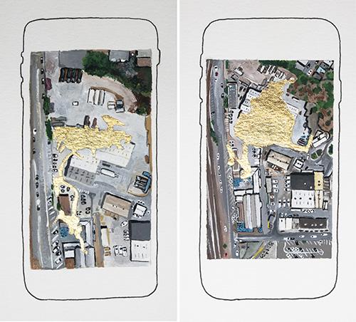 Minoosh Zomorodinia Painting Satellite Maps